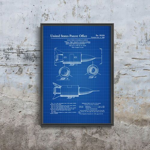 Plakat vintage Plakat vintage Patent na pojazd kosmiczny Stanów Zjednoczonych
