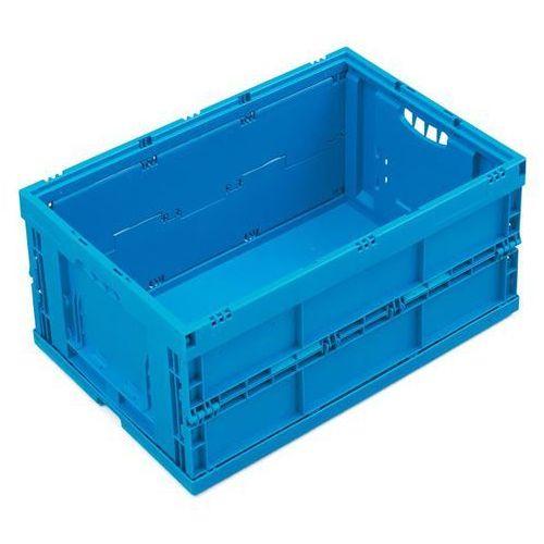Pojemnik składany z polipropylenu, poj. 49 l, bez pokrywy, niebieski. Z poliprop
