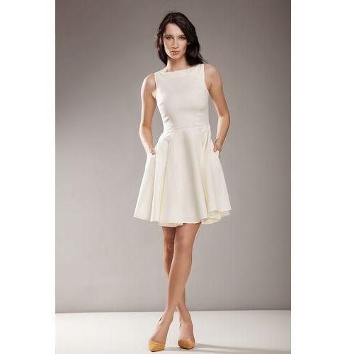 Kremowa Elegancka Sukienka bez Rękawów, kolor beżowy
