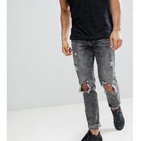 Brooklyn Supply Co Acid Wash Slim Jeans With Rip and Repair - Blue