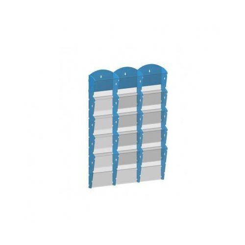 Plastikowy uchwyt ścienny na ulotki - 3x5 a4, niebieski marki B2b partner