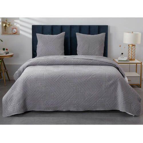 Pikowana narzuta huez 230 × 250 cm i 2 poszewki na poduszki 65 × 65 cm – poliester – kolor szary marki Vente-unique