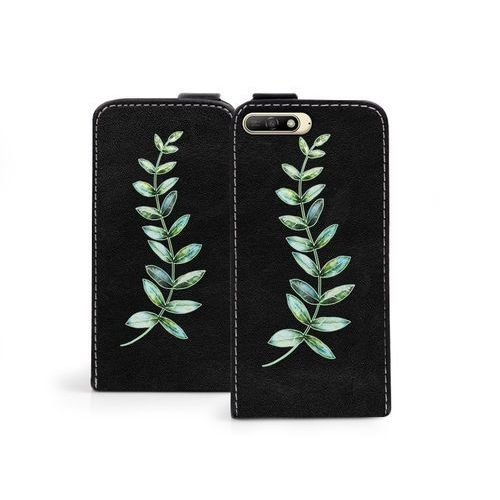 Huawei Y6 (2018) - etui na telefon Flip Fantastic - zielona gałązka, kolor zielony