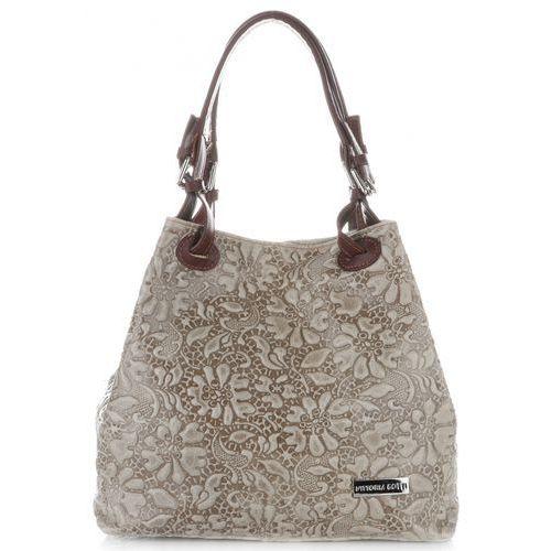 Vittoria Gotti Stylowe Torebki Skórzane typu Shopper Bag w tłoczone wzory kwiatów Beżowe (kolory), kolor beżowy