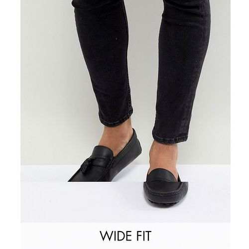 design driving shoes in black leather with tassels - black, Asos