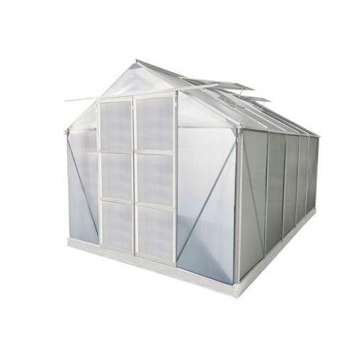 Szklarnia ogrodowa z poliwęglanu 9 m² corolle ii z podstawą - biała marki Vente-unique