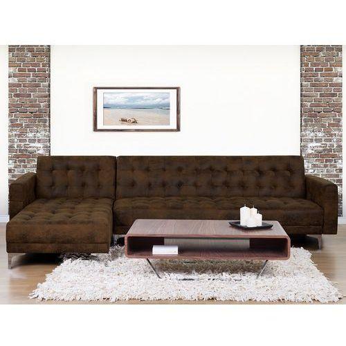 Sofa brązowa - kanapa - skórzana - rozkładana - narożnik - aberdeen marki Beliani