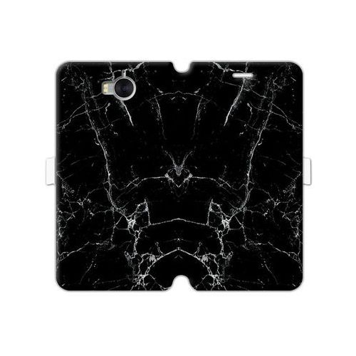Huawei Y5 (2017) - etui na telefon Wallet Book Fantastic - czarny marmur, kolor czarny