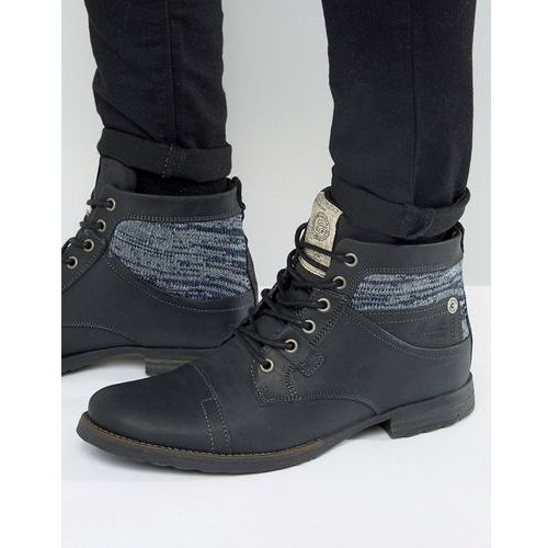 leather military boots with textile insert in black - black, River island