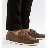 Silver Street Wide Fit Bar Loafers In Brown Leather - Brown