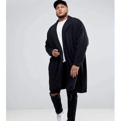 Asos plus extreme oversized super longline jersey duster jacket - black