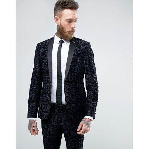 Noose & monkey  super skinny suit jacket with floral flocking - navy