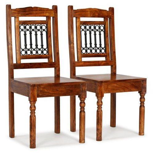 Krzesła z litego drewna, stylizowane na sheesham, 2 szt.