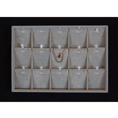 Szara tacka 2w1 z przegródkami do prezentacji biżuterii np. wisiorków i łańcuszków