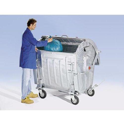 Duży pojemnik na odpady, ocynkowany, z zabezpieczeniem przed dostępem dzieci, po marki Schaefer group