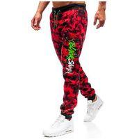 J.style Spodnie męskie dresowe joggery moro-czerwone denley 55093