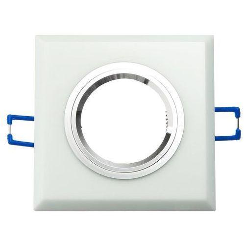 Superled oprawa oprawka led halogenowa stała szklana kwadratowa biała oh27 3183