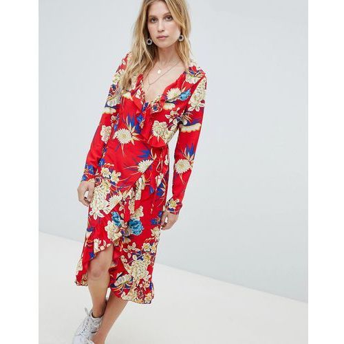 PrettyLittleThing Floral Ruffle Wrap Midi Dress - Red