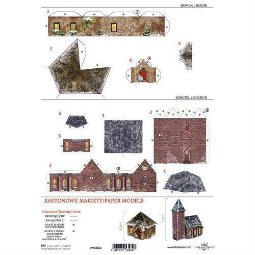 Itdcollection Kartonowa makieta - domek i kościółek - 04