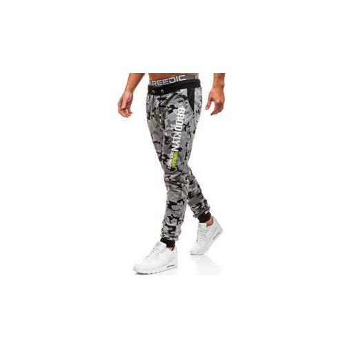 J.style Spodnie męskie dresowe joggery moro-szare denley kk513