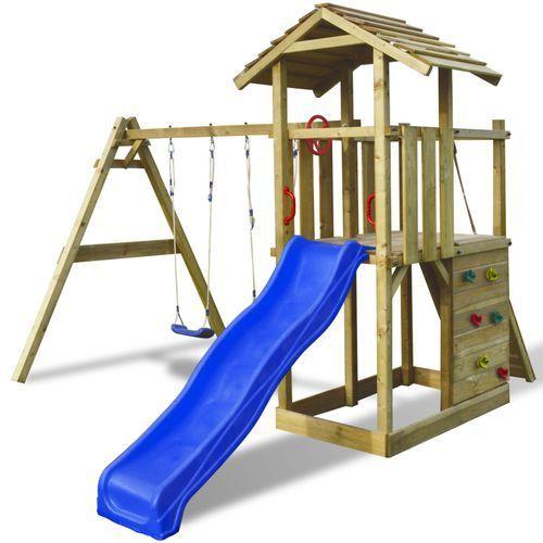 Vidaxl  plac zabaw drewniany z drabinką, huśtawkami i plastikową ślizgawką