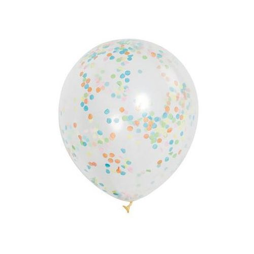 Balony przezroczyste z konfetti w środku - 30 cm - 6 szt. marki Unique