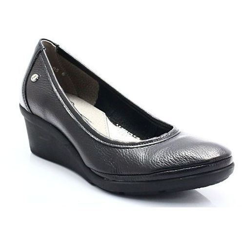 LEMAR 10056 CZARNY - Wygodne buty damskie na lekkiej koturnie, kolor czarny