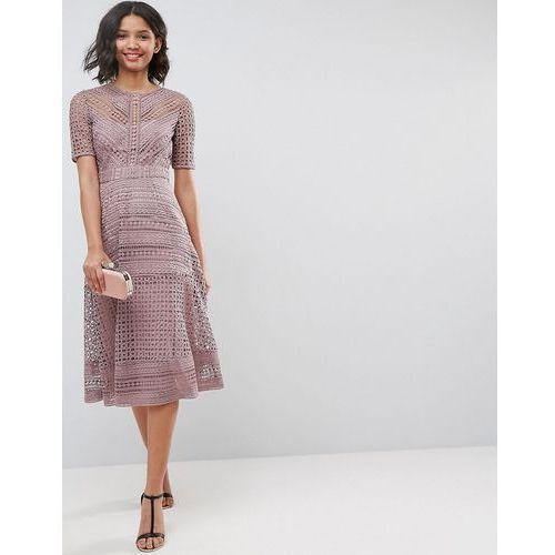 Asos premium occasion lace midi dress - navy