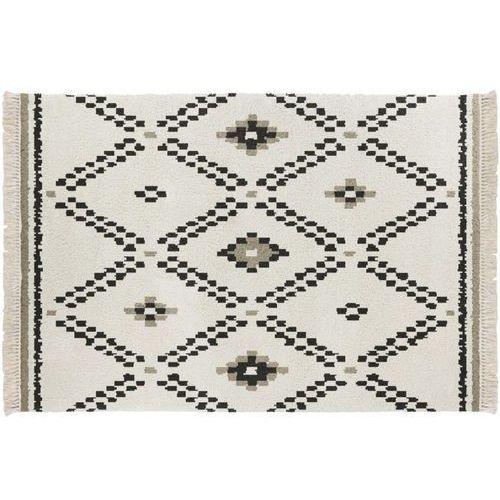 Dywan NOLA w stylu berberyjskim z frędzlami – 100% polipropylen – kolor ecru i czarny – kilka rozmiarów