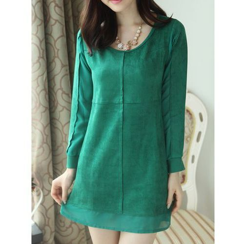 Solid Color Long Sleeve Casual Style Scoop Neck Women's Dress