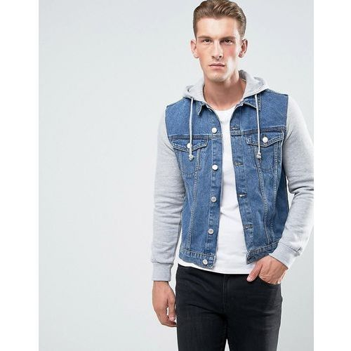 denim jacket with jersey sleeves in mid wash - blue, New look