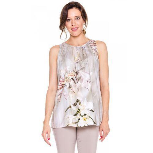 Beżowa bluzka bez rękawów w kwiaty - Bialcon, kolor beżowy