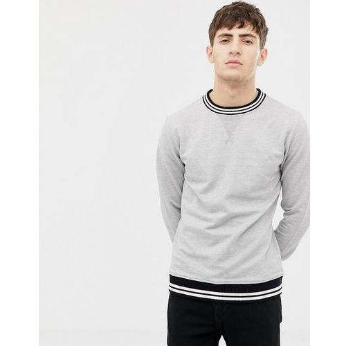 knitted rib stripe crew neck sweat - grey marki Another influence