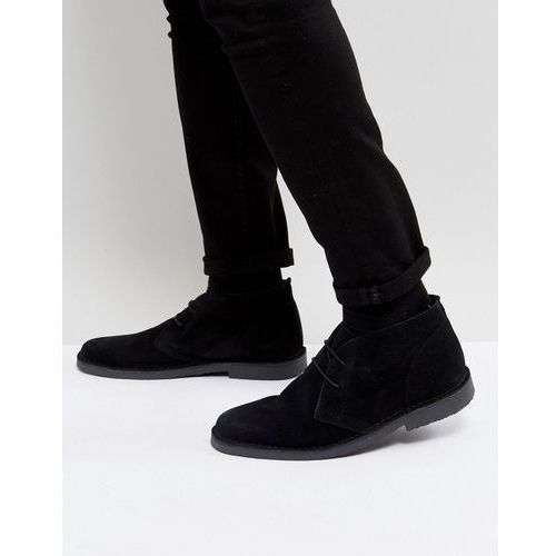Pier one suede desert boots in black - black