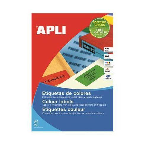 Apli Etykiety kolorowe , 210x297mm, prostokątne, czerwone, 20 ark.