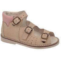 Sandałki profilaktyczne ortopedyczne bs-29 - multikolor ||beżowy ||różowy marki Postęp