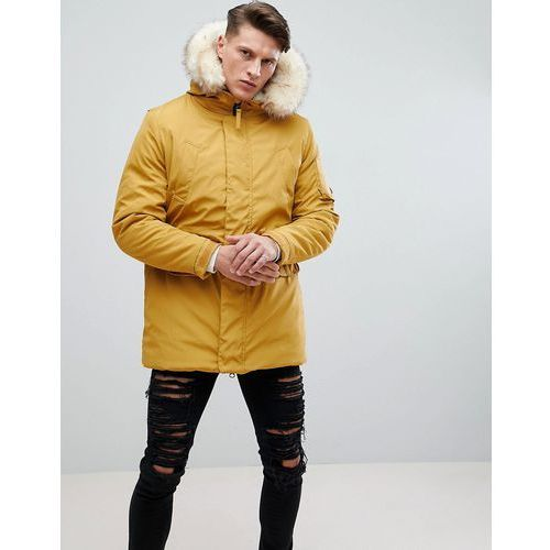 River Island Parka Jacket With Faux Fur And Borg Hood In Mustard - Yellow