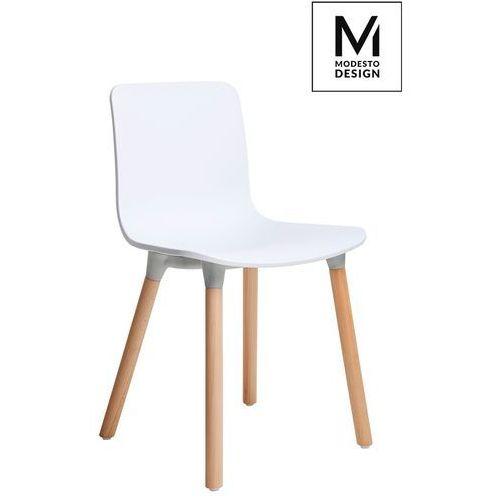 MODESTO krzesło HOLY WOOD białe - polipropylen, podstawa bukowa (5900168801615)