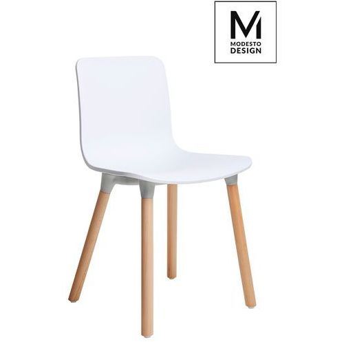 Modesto krzesło holy wood białe - polipropylen, podstawa bukowa marki Modesto design