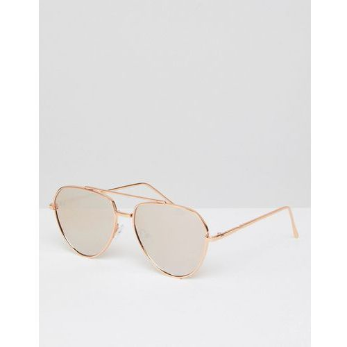 ASOS Angled Aviator Sunglasses In Rose Gold With Rose Gold Mirrored Lens - Gold