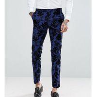 wedding super skinny suit trousers in flocking - blue, Noose & monkey