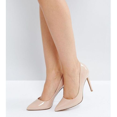 design paris pointed high heeled court shoes in almond - beige marki Asos