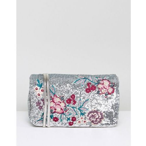 New Look Sequin Embroidery Chain Shoulder Bag - Silver, kolor szary