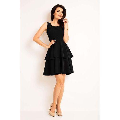 Czarna Elegancka Rozkloszowana Sukienka z Baskinką, rozkloszowana