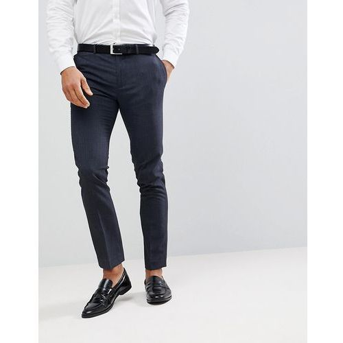 Burton menswear skinny fit trousers in navy check - navy