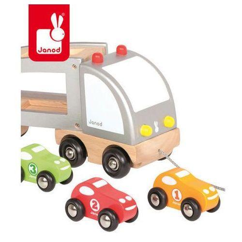 Samochód drewniany laweta do ciągnięcia - zabawka dla dzieci