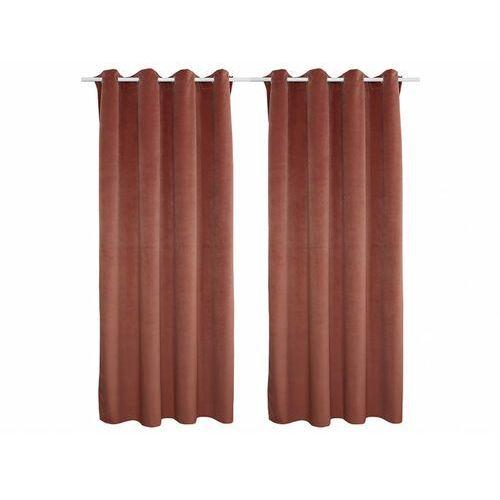 Zestaw 2 zasłon LUXE – welur poliestrowy – 140 × 260 cm – kolor różowy