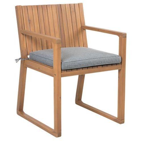 Beliani Drewniane krzesło ogrodowe z szarą poduchą SASSARI