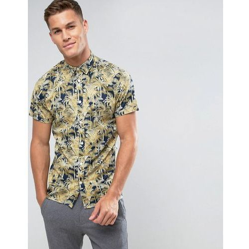 Selected Homme Short Sleeve Shirt In Regular Fit With All Over Hawaian Print - Navy