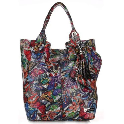 Torba Skórzana Shopper Bag VITTORIA GOTTI Made in Italy w Motyle Multikolor - Czarna (kolory)